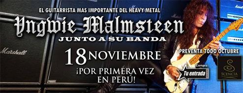 YNGWIE MALMSTEEN POR PRIMERA VEZ EN PERU, Spellbound-Tour 2013
